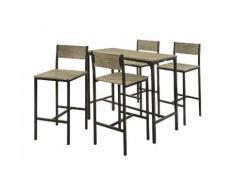 SoBuy Set 5 pezzi Tavolo con 4 sedie alto, Set di mobili da balcone,OGT14