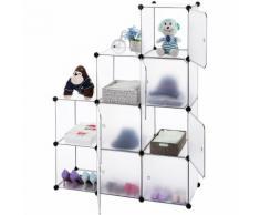 Mobile armadio modulare quadrato impermeabile resistente con 9 scomparti colore Bianca
