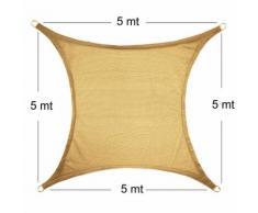 Vela Parasole Ombreggiante Quadrata 5x5x5 mt Beige Sabbia