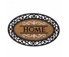 Tappeto Zerbino Ovale In Gomma e Fibra di Cocco Scritta Home 70x45cm Beige/Nero