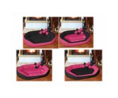 Cuccia cuccetta letto lettino per cani gatti animali 4 in 1 nero-fucsia misura xl 85x70 nero fucsia