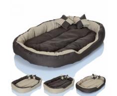 Cuccia cuccetta letto lettino per cani gatti animali 2 cuscini beige-marrone misura 65x50 beige