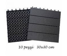 10 Piastrelle 30x30 Finto Legno Pavimento da Esterno Giardino Piscina Mattonelle