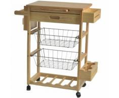 Carrello da cucina in legno con due cestelli un piano e un cassetto