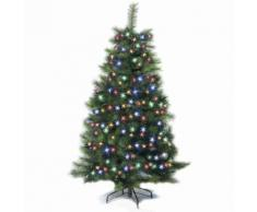 Albero di Natale super folto completo di luci multicolor 1,80 metri