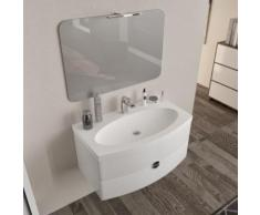Arredo bagno mobile SOSPESO 90 cm con lavabo, specchio e lampada led. Tulipano bianco