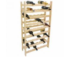 Cantinetta portabottiglie in legno di pino naturale 54 bottiglie mobile