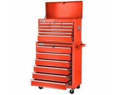 Carrello per strumenti PRO armadio acciaio 4 ruote 16 cassetti (Rosso Azzurro, nero, argento)