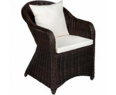 Poltrona deluxe in rattan e alluminio - sedia + cuscini su seduta e schienale marrone