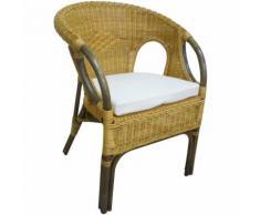 Poltrona sedia Mandolino in vimini bambù rattan marrone con cuscino per casa salotto