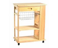 Carrello da cucina in legno con cassetto e cestello