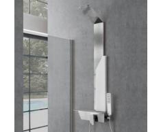 Pannello doccia Marmolada acciaio inox spazzolato e decorazioni in pietra artificiale. Miscelatore