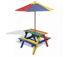 Set Tavolo e Panchina da Picnic Bambini con Parasole 4 Colori