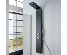 Pannello doccia idromassaggio Sassolungo in alluminio nero con cascata. Miscelatore incasso 4 vie