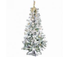 Albero di Natale pino innevato con 240 luci gialle altezza 150 centimetri
