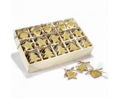 Addobbi per albero di Natale in legno con glitter dorati 90 pezzi