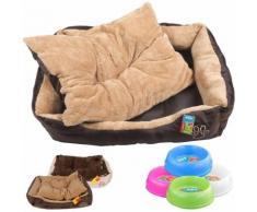 Cuccia cuccetta letto lettino per cani gatti animali ciotola 900ml omaggio misura xl 90x70x19 brown