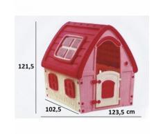 Casa Casetta in Plastica Per Bambini da Esterno 121cm Fairy House Rosa