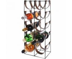 Portabottiglie di Vino e Liquori Metallo e Cuoio 10 Porta Bottiglie 60x24x16cm