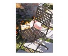 Sedia pieghevole in acciaio, per giardino, Grigio antracite, Con cuscino