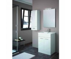 Mobile bagno 600 in legno bianco con lavabo Motril | Con specchio e lampada LED