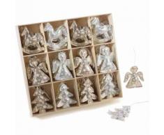 Addobbi per albero di Natale in stoffa metallizato 72 pezzi
