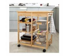 SoBuy Carrello cucina scaffale cucina, con portabottiglie,cestini e cassetti,legno FKW04-N