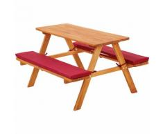 Panca da picnic per bambini con cuscini rosso