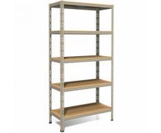Scaffale con montaggio ad incastro legno/metallo 4 livelli 210x70 Grigio 7037 - Portata 450 Kg