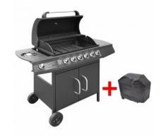 Barbecue e Griglia a Gas 6+1 Fornelli Nero