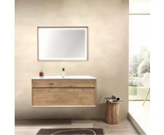 Mobile da bagno sospeso Olmo cm 100 Completo di Specchio Luce Led serie Trevi