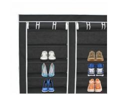Guardaroba, Armadio, 2 porte, Scarpiera, 114 x 110 x 28 cm, Nero, Materiale: Tubi in acciaio