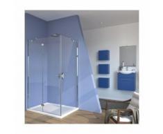 Box doccia cabina angolare 80x100 con una anta a battente vetro cristallo anticalcare 6mm. Betulla
