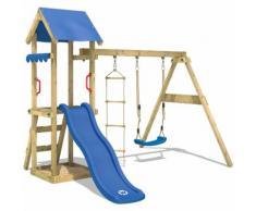 WICKEY Parco giochi TinyCabin Gioco da giardino per bambini con altalena, scivolo, sabbiera, tetto