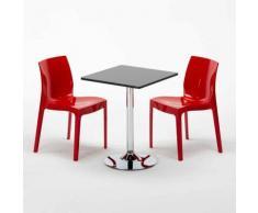 Tavolino Quadrato Nero 70x70cm Con 2 Sedie Colorate Interno Bar ICE MOJITO   Rosso