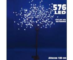 Albero di Natale Luminoso Ciliegio per Esterno 576 LED H 180 CM Bianco Freddo