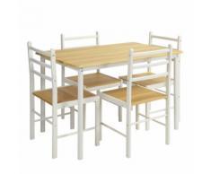 Set Tavolo da Pranzo + 4 Sedie Piano e Sedute in Legno Design Moderno 110x70cm