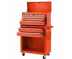 Carrello per strumenti PRO armadio acciaio 4 ruote 10 cassetti (Rosso Azzurro, nero, argento)