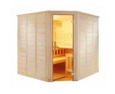 Sauna finlandese angolare in abete rosso massello 3 posti