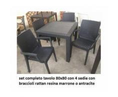 set tavolo 80x80cm + 4 sedia con bracciolo esterno bar giardino rattan HOTEL PUB colore antracite