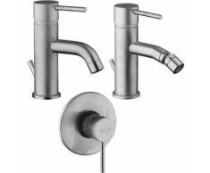 Set miscelatori per lavabo bidet e incasso doccia Jacuzzi Gun finitura acciaio