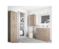 Mobile bagno 700 in legno marrone Colorado con lavabo Motril | Con specchio e lampada LED