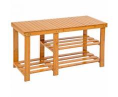 Scarpiera in bambù con 2 ripiani con panca e scomparto separato