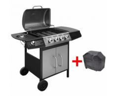 Barbecue e Griglia a Gas 4+1 Fuochi Nero e Argento