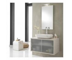 Moderno mobile da bagno sopeso giava bianco 90cm cassettone con ante in vetro satinato scorevoli