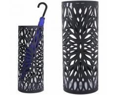 Portaombrelli in Ferro Design BAKAJI7B Rotondo Stand Nero Vaschetta Salvagoccia