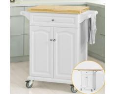 SoBuy Carrello di servizio, tavolo da cucina,estensibile FKW36-WN
