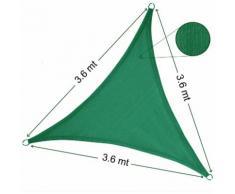 Vela Parasole Ombreggiante Triangolare 3.6x3.6x3.6 mt Verde