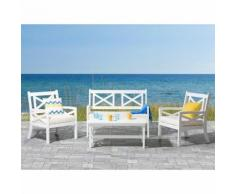 Panchina in legno bianco 120 cm con cuscino beige BALTIC
