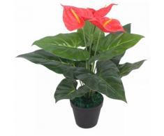 Anturium Pianta Artificiale con Vaso 45 cm Rossa e Gialla